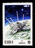 Luna 9, 10th årsdag av lanseringen av den första serien för konstgjord satellit, circa 1967 Arkivfoton