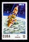 Luna 10, 10th Ann Av lanseringen av den första serien för konstgjord satellit circa 1967 Royaltyfri Fotografi