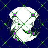 Luna a través de los cristales de una ventana ilustración del vector