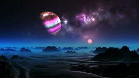 Luna variopinta sopra il pianeta straniero video d archivio