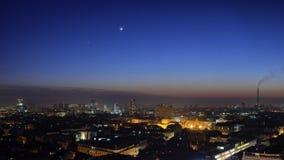 Luna & Venus Over Zagreb Skyline Fotografia Stock Libera da Diritti