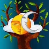Luna y árbol de Sun Imagen de archivo