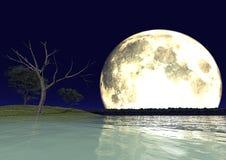 Luna y agua Foto de archivo libre de regalías