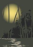 Luna y bambú Imagenes de archivo