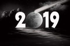 Luna y cometa del Año Nuevo 2019 Imágenes de archivo libres de regalías