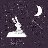 Luna y conejo del sueño Foto de archivo