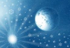 Luna y copos de nieve ilustración del vector