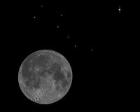 Luna y estrellas Foto de archivo