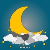 Luna y estrellas abstractas del fondo en las nubes Eps10 ilustración del vector