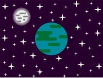 Luna y estrellas de la tierra en diseño plano del espacio Fotos de archivo libres de regalías