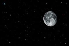 Luna y estrellas en espacio negro Fotos de archivo libres de regalías