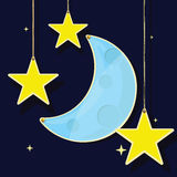 Luna y estrellas en una cuerda Fotografía de archivo