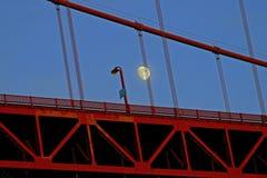 Luna y puente Golden Gate Fotografía de archivo