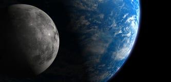 Luna y tierra Fotos de archivo libres de regalías