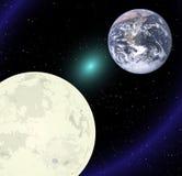Luna y tierra Foto de archivo libre de regalías