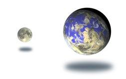 Luna y tierra Foto de archivo