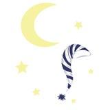 Luna y un gorro de dormir foto de archivo