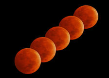 Lunacy. Various phases of the Lunar Eclipse Stock Photography