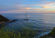 Lunada Bay Sunset, Palos Verdes Peninsula, Los Angeles, California. Lunada Bay is a beautifully scenic destination on the Palos Verdes peninsula, Los Angeles royalty free stock photography