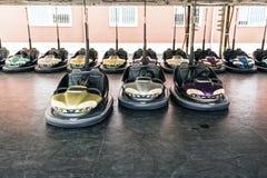 Lunapark bumper cars. Luna park colorful machinery bumper cars Stock Images
