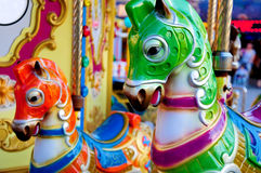 Lunapark Horses. A deatail from a lunapark Stock Image