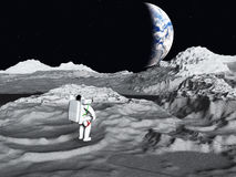 Lunar astronaut views earth Royalty Free Stock Photos
