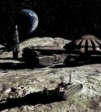 Lunar base and Earthrise Royalty Free Stock Photos