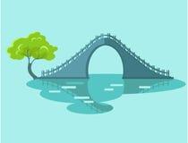 Lunar Bridge with Green Tree in Taiwan Flat Icon Stock Image