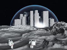 Lunar city Stock Photo