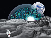 Lunar city earth rise Stock Photo
