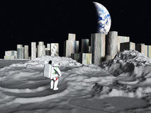 Lunar city earthrise. Lunar city earth rise with explorer Royalty Free Stock Photo