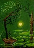 Lunar creatures. The trees and the water stock illustration