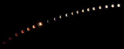 Lunar eclipse. Phases on June 15, 2011, from total eclipse to full moon Royalty Free Stock Photo