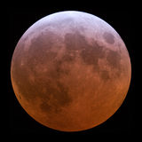 Lunar Eclipse. Copper coloured full moon detail Stock Image