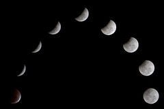 Lunar eclipse. A collage of a lunar eclipse Royalty Free Stock Images