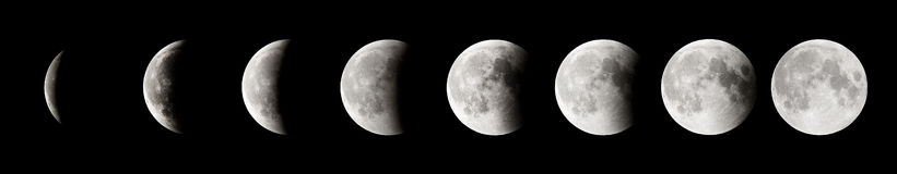 Lunar Eclipse. Phases of a lunar eclipse Royalty Free Stock Photos