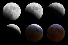 Lunar eclipse 3-4 March 2007. Phases of Lunar (moon) eclipse 3-4 March 2007 stock photos