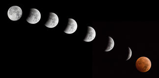 Lunar Eclipse Blood Moon Sequence Stock Image
