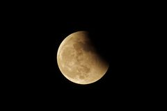 Lunar eclipse in the dark sky Stock Photos