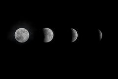 Lunar eclipse. Four stages of a lunar eclipse on December 20, 2010 Royalty Free Stock Photo