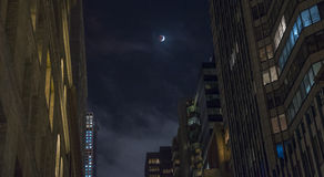 Lunar eclipse. At New York night time Stock Photography