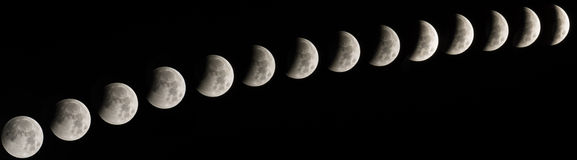 Lunar Eclipse. Occurs when the Moon passes directly behind the Earth into its umbra (shadow Stock Images