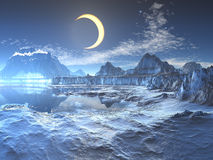 Lunar Eclipse over Frozen Planet stock illustration