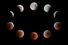 Lunar eclipse phases on 15-16 July 2011, Bahrain. Partial-total-mid lunar eclipse phases on 15-16 June 2011, Bahrain Royalty Free Stock Images