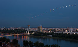 Lunar eclipse sequence in Bratislava, Slovakia Stock Photo