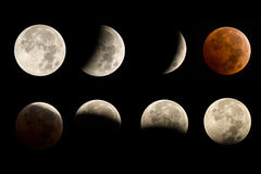 Lunar Eclipse Sequence Stock Photography