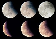 Lunar Eclipse stages. Royalty Free Stock Photos