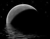 Lunar Lake. Moon rising behind a lake with stars in the sky stock illustration