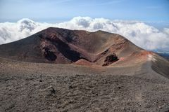 Amazing view of the Mount Etna crater. Lunar landscape of the Mount Etna, Sicily, Italy royalty free stock photos