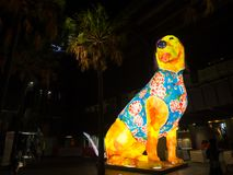 Lunar Lantern `The Dog` is zodiac symbol of Dog will be illuminated from dusk at Circular Quay by Artist Song Ling. stock photos